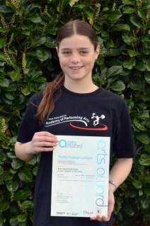Arts Award certificate for Sophie